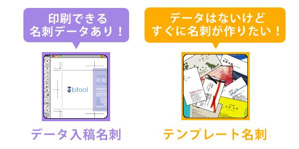 名刺印刷の注文方法「印刷できる名刺データあり!→データ入稿注文」「データはないけどすぐに名刺が作りたい!→テンプレート名刺」