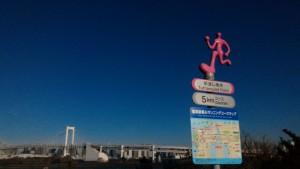 気持ちのよいお台場ブルーの空!遠くには、富士山やレインボーブリッジが。