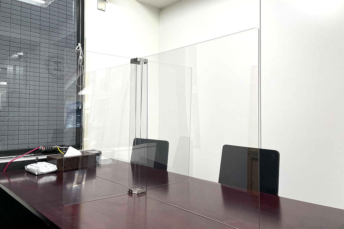 会議室にも飛散防止パネル