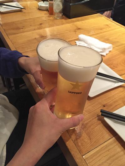 ビールで乾杯。