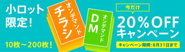小ロット限定!チラシ・DM20%OFFキャンペーン