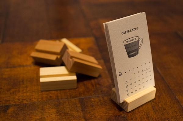 活版印刷カレンダー 木製スタンド