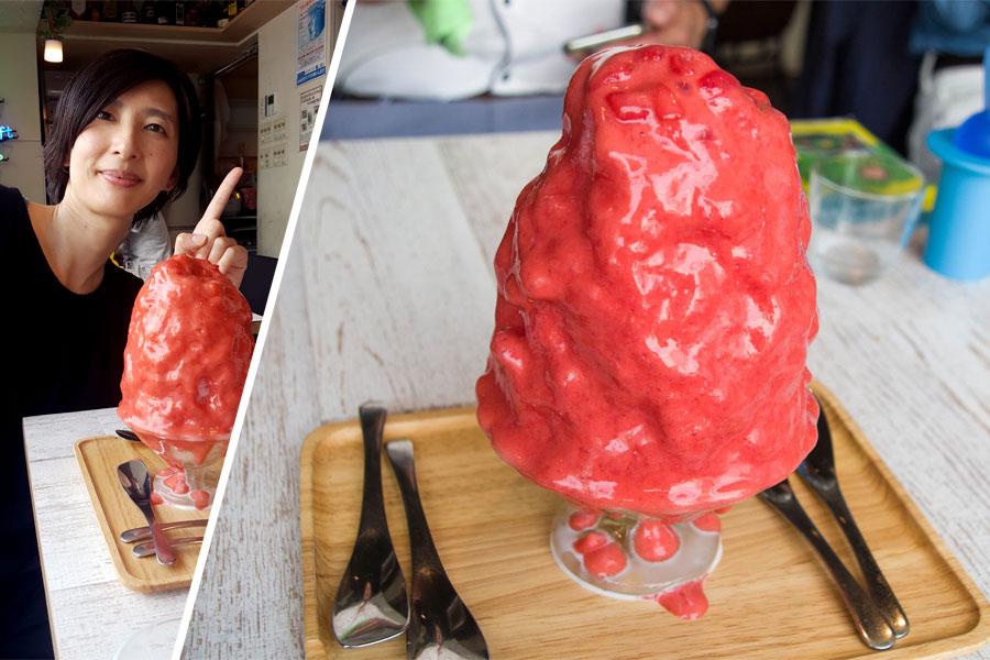 旗の台 ブンブンブラウカフェ かき氷 いちごエスプーマソース